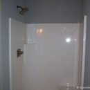 Raleigh fiberglass shower installation with shower valve. Rough in and finished plumbing
